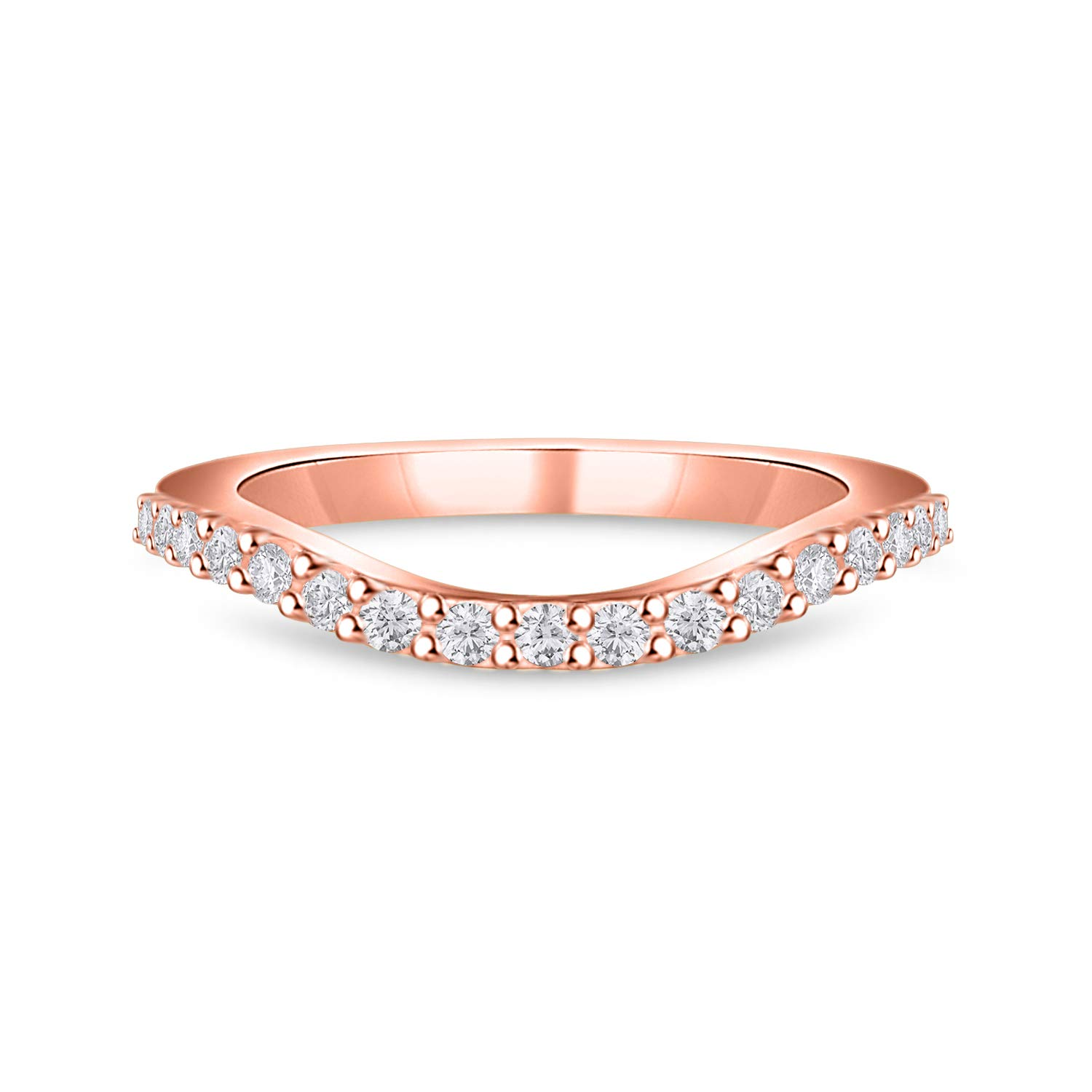 DiscountHouse4you Round White Simulated Diamond Curved Stackable Half Eternity Wedding Band Ring for Women 14k Gold Plated