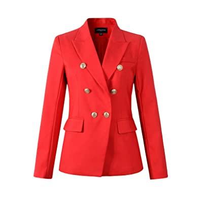 Womens Double Breasted Military Style Blazer Ladies Coat Jacket at Women's Clothing store