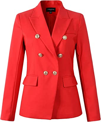Womens Double Breasted Gold Button Military Style Blazer Ladies Coat Jacket Nice