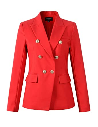 9410ca444627 Womens Double Breasted Military Style Blazer Ladies Coat Jacket at Amazon Women's  Clothing store: