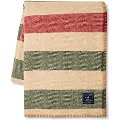 Faribault Woolen Mill Company Wool Throw Blanket, Striped, Camel