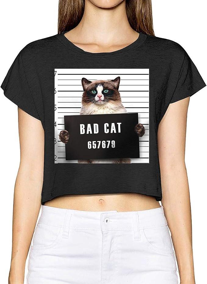BuecoutesBad Gang - Camiseta, diseño de Gato en la cárcel bajo el arresto, Color Negro - Negro - Small: Amazon.es: Ropa y accesorios