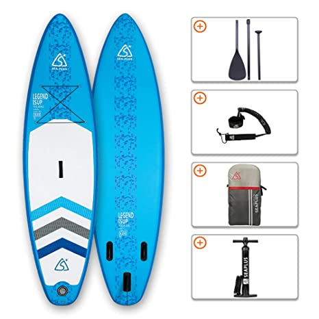 SEAPLUS Tabla de Paddle Surf Hinchable Tabla Stand Up Paddle Board Rígida con Accesorios de Remo de Aluminio/Inflador/Leash/Mochila, Carga hasta 130 ...