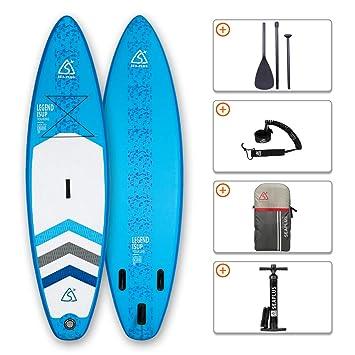 SEAPLUS Tabla de Paddle Surf Hinchable Tabla Stand Up Paddle Board Rígida Doble Capa con Accesorios de Remo de Aluminio/Inflador/Leash/Mochila, Carga ...