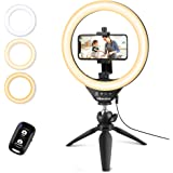 """UBeesize 10"""" Selfie Ring Light with Tripod Stand & Cell Phone Holder, Dimmable Desktop LED Circle Light for Live Streaming/Ma"""