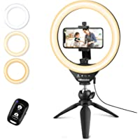 """UBeesize 10"""" Selfie Ring Light with Tripod Stand & Cell Phone Holder, Dimmable Desktop LED Circle Light for Live…"""