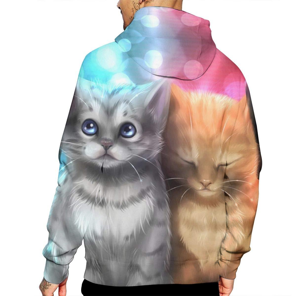 DJ Cats Mans Long Sleeve Hoodie Casual Pocket Hooded Sweatshirt