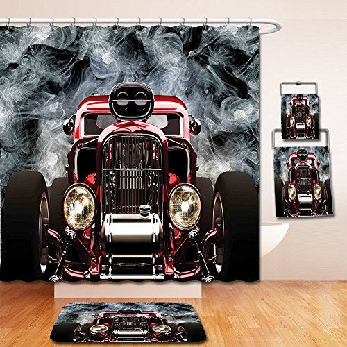 Nalahome Bath Suit: Showercurtain Bathrug Bathtowel Handtowel Classic Old Cars Decor Collection Vintage American Hot Rod Roadster with Smoke Background Race Art Pictures - Wildflower Race