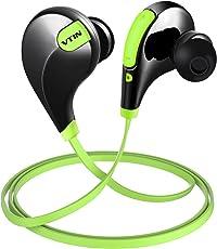 Vtin Bluetooth Auriculares Inalámbricos, con Ruido Reducido y Tecnologia APTX, Auriculares de Deportes Inalámbricos para Gimnasio, Alpinismo y Yoga- Negro y Amarillo