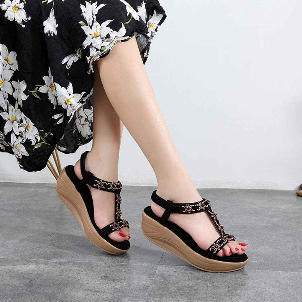 ✔ Hypothesis_X ☎ Womens Wedges Sandals, Bohemian Pearl Crystal Flat Sandals,Flip Flop Casual Shoes Black by ✔ Hypothesis_X ☎ Shoes (Image #4)