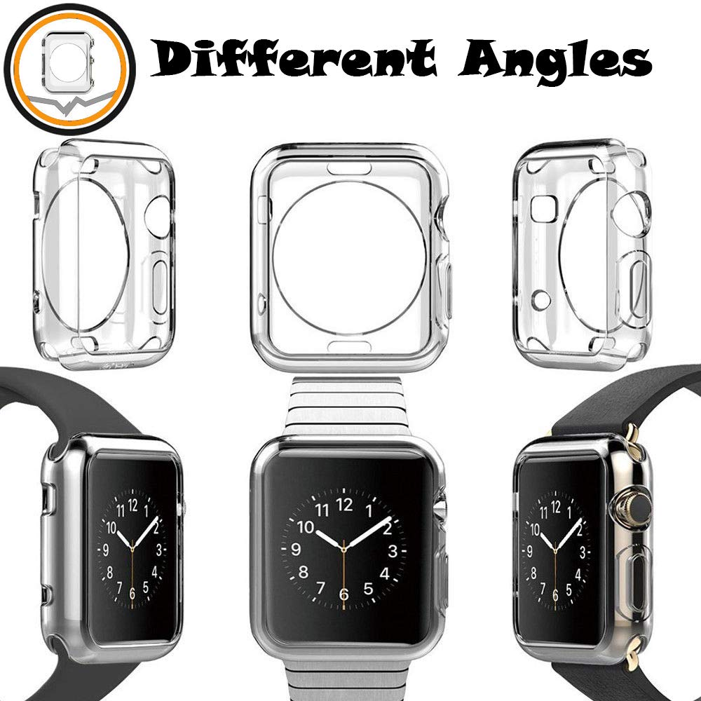 2 Packs, Jinxtech 40mm iWatch Case Soft TPU Shockproof Case Cover Bumper Protector Compatible with Apple Watch Case Series 4 (40mm)(Clear) by Jinxtech (Image #2)