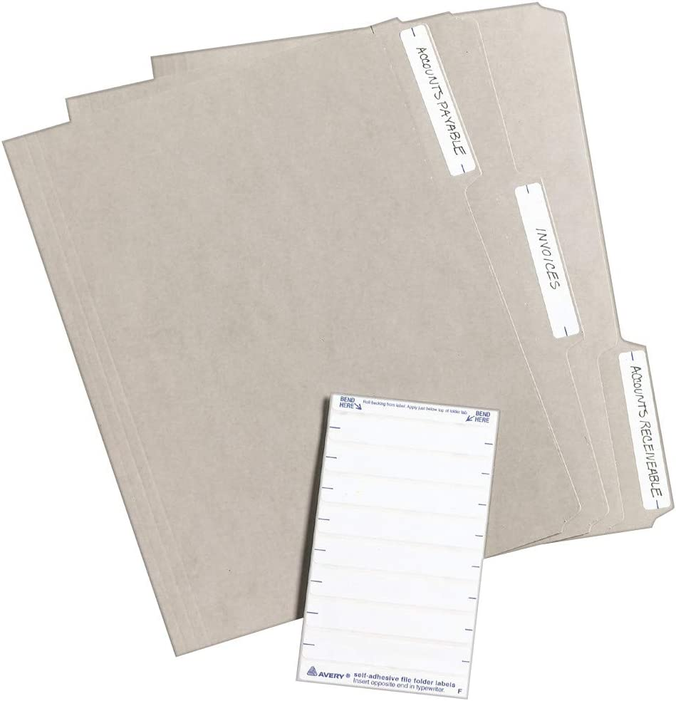 Avery File Folder Labels, Laser and Inkjet Printers, 1/3 Cut, White, Pack of 252 (05202) : Office Products