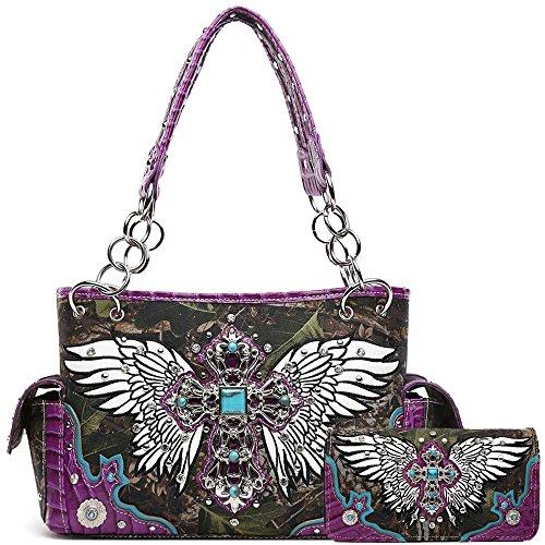 Camouflage Womens Handbag (Cross Winged Camouflage Western Style Concealed Carry Purse Country Handbag Women Shoulder Bag Wallet Set (Purple Set))