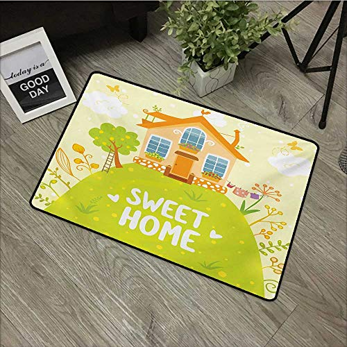 Bathroom door mat W31 x L47 INCH Home Sweet Home,Cartoon Style Cottage Hut on Green Hilltop with Flourishing Garden Morning,Multicolor Natural dye printing to protect your baby's skin Non-slip Door Ma