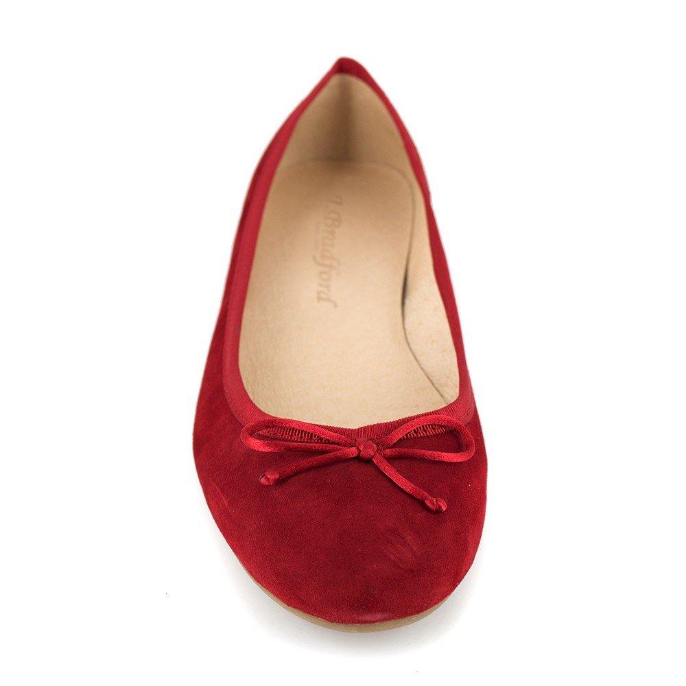J Rojo Amazon bradford Bailarina Cuero es Zapatos Jb Miranda Y ABndPq4n