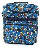 Disney Mickey Minnie Mouse Dancing Pattern Cooler Crossbody Bag Lunch Tote Bag with Front Pocket, Upper Pockets, Adjustable Shoulder Strap, Handle Strap (Blue) For Sale