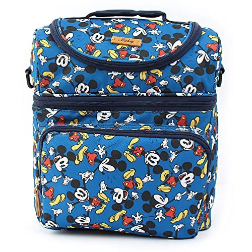 Disney Mickey Minnie Mouse Dancing Pattern Cooler Crossbody Bag Lunch Tote Bag
