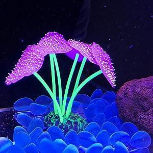 "Danmu 1pc Glowing Effect Artificial Coral Plant Ornament for Fish Tank Aquarium Decoration 1 9/10"" x 3 9/10"""