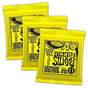 Ernie Ball Beefy Slinky Nickel Wound Sets.011 – .054, Bundle of 3 Sets