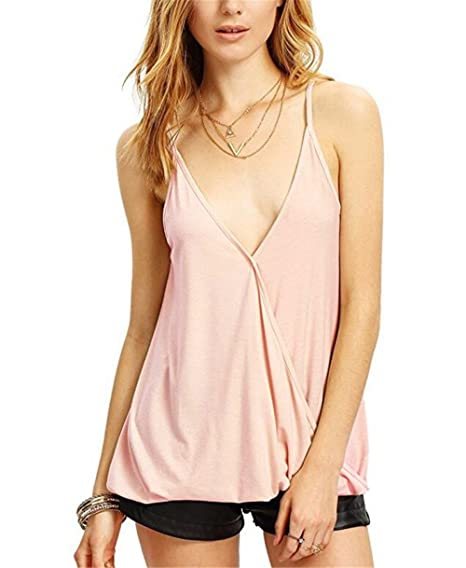 f17b13f7 Easyhon Women's Deep V Neck Cut Out Back Sleeveless Blouse Tank Top (1,Small