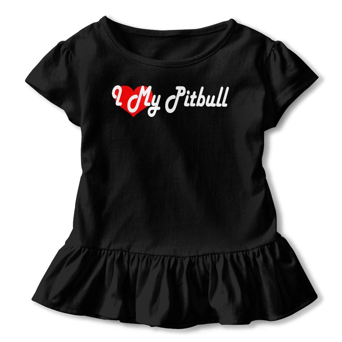 I Love My Pitbull Baby Girls Short Sleeve Ruffle Tee Cotton Kids T Shirts 2-6 Years