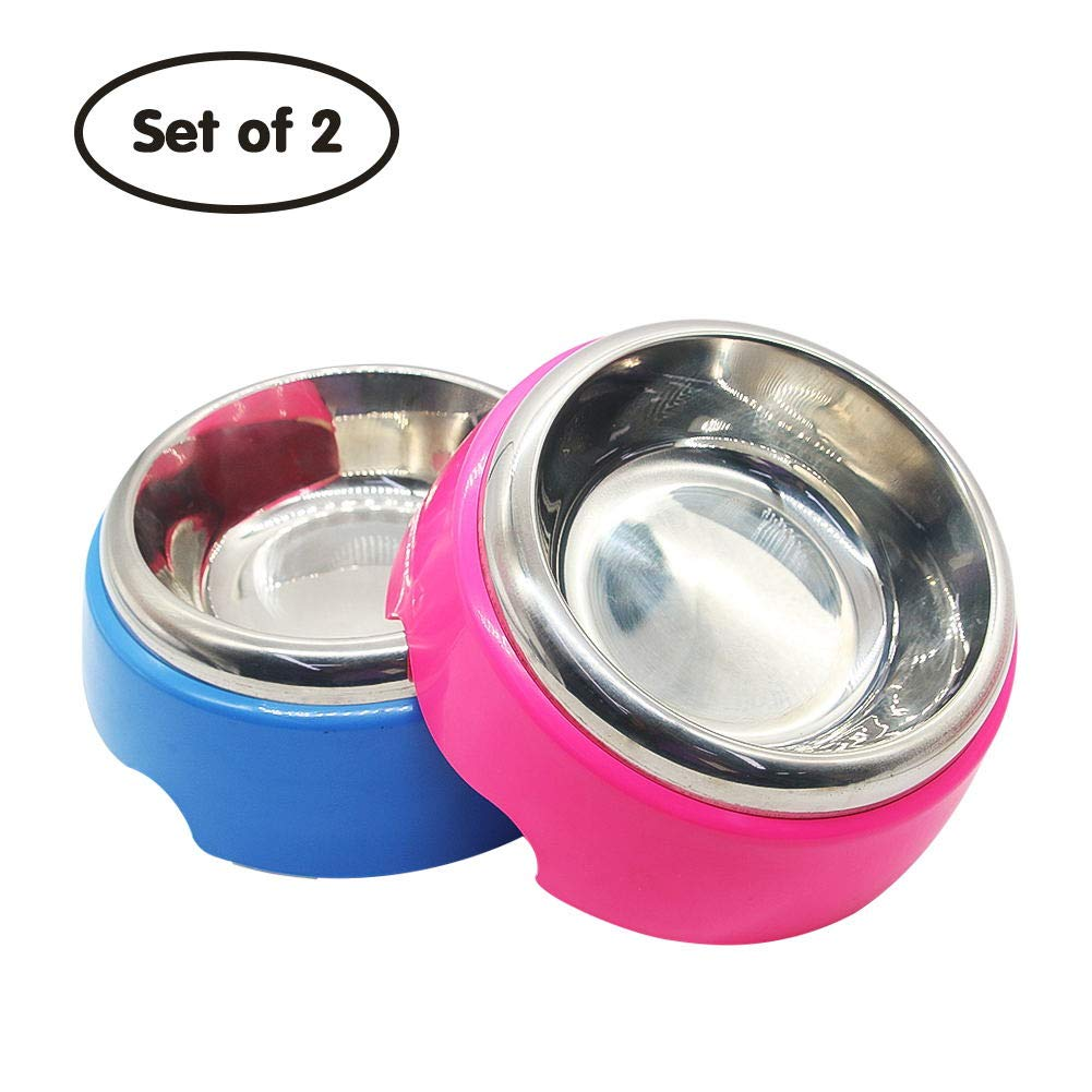 Dog Stainless Steel Bowl Cat Food Water Feeding Bowl Set Non Spill Slip Dual Metal Dish for Pet Puppy, Set of 2 (Pink and Blue)