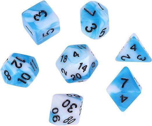 Toyvian Dados poliédricos Juego de Dados de números acrílicos de 7 Piezas Conjunto para Juego de Mesa MTG de Dungeons and Dragons RPG (Azul y Blanco): Amazon.es: Hogar