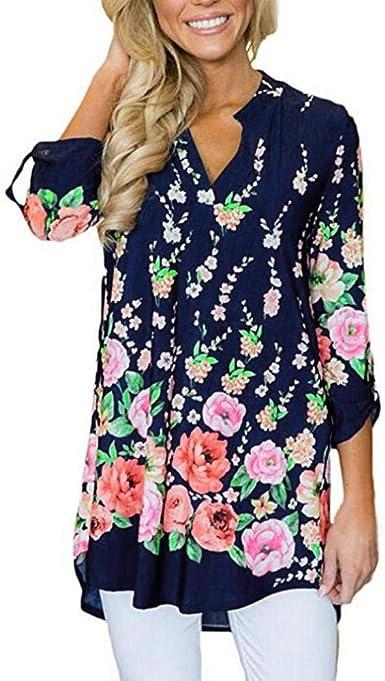 Lenfesh Camiseta del Vintage para Mujer Camisa Larga Cuello en V Mujer Camiseta Blusa Mangas Largas Elegante Moda Casual (XL, Azul Oscuro): Amazon.es: Ropa y accesorios