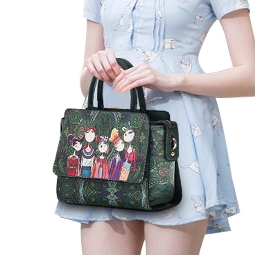 Lywey Women's Fashion Classic Laptop Forest Girls Pattern Printing Single Shoulder Bag Handle Zipper Handbag Crossbody Messenger Bags Satchel Purse For Girls