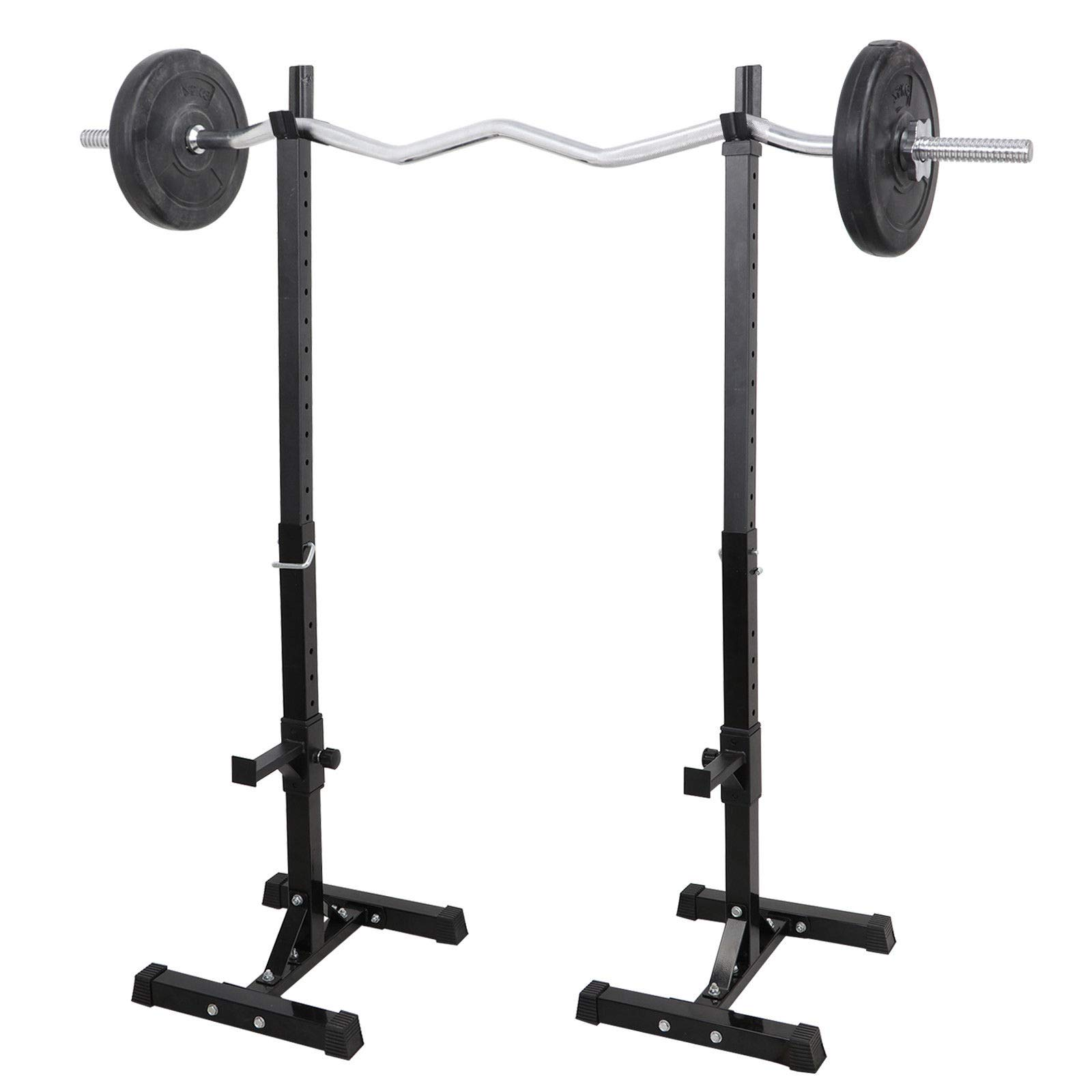 Heavens Tvcz Barbell Rack Stand Press Bench Power Squat Gym Weight Solid Adjustable Free Stand Set of 2 Exercise
