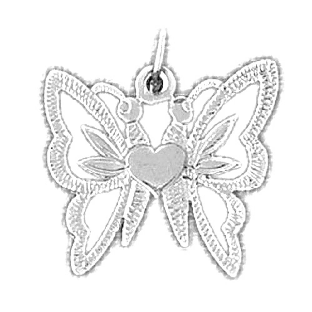 Rhodium-plated 925 Silver Butterflies Pendant with 16 Necklace Jewels Obsession Butterflies Necklace