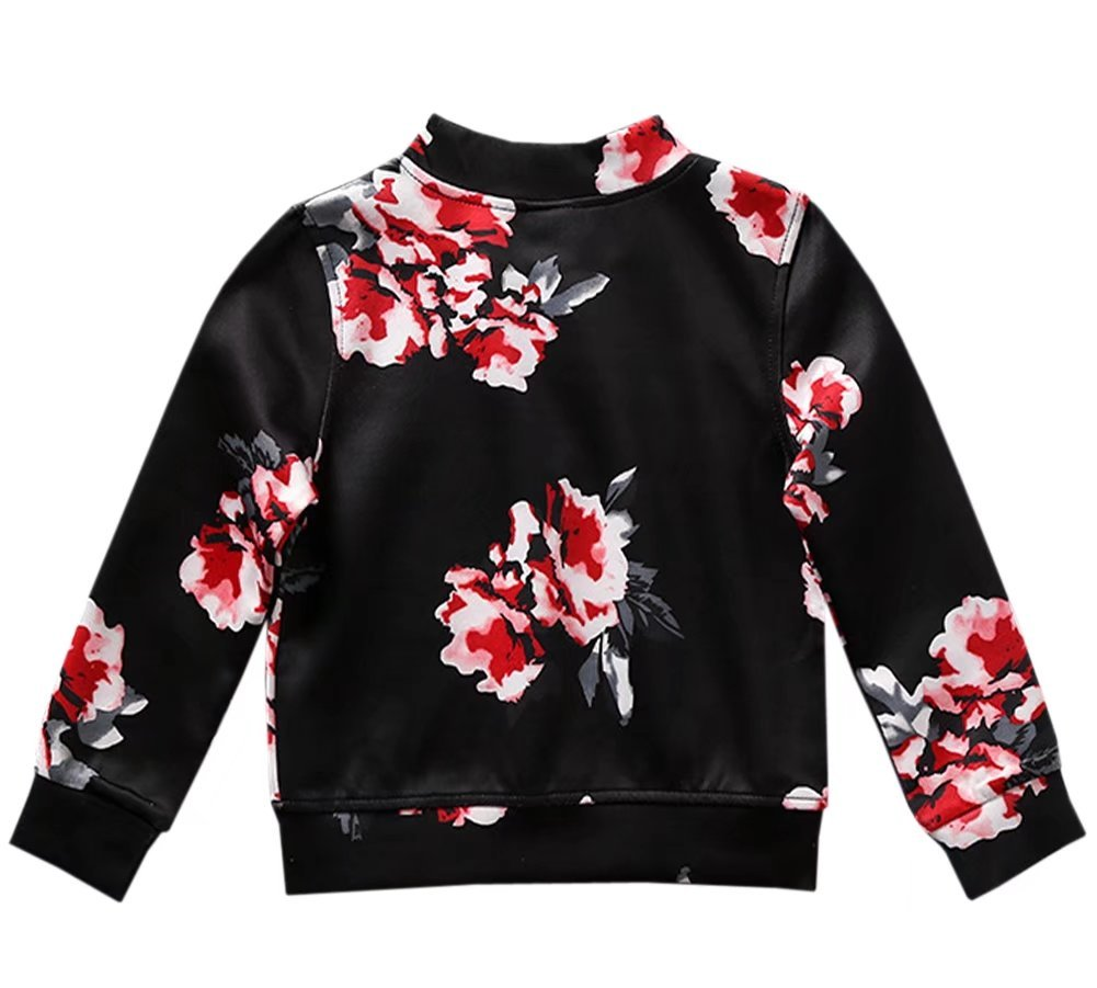 Little Girl's Long Sleeves Vintage Floral Print Casual Bomber Baseball Jacket Coat Outerwear, Black 4-5 Years=Tag 120 by BINPAW (Image #3)