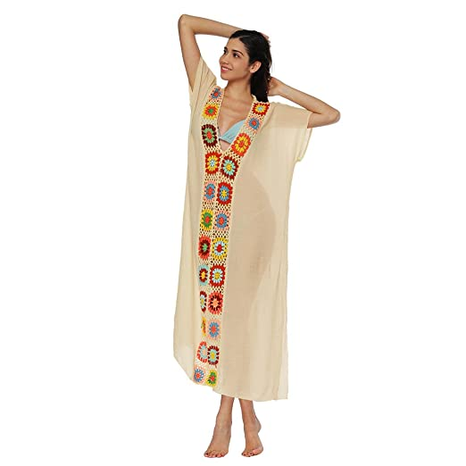 b7b92b21e9 Toimothcn Womens Plus Size Embroidered Swimsuit Cover up Tunic Tops Boho  Beach Long Dress (Beige