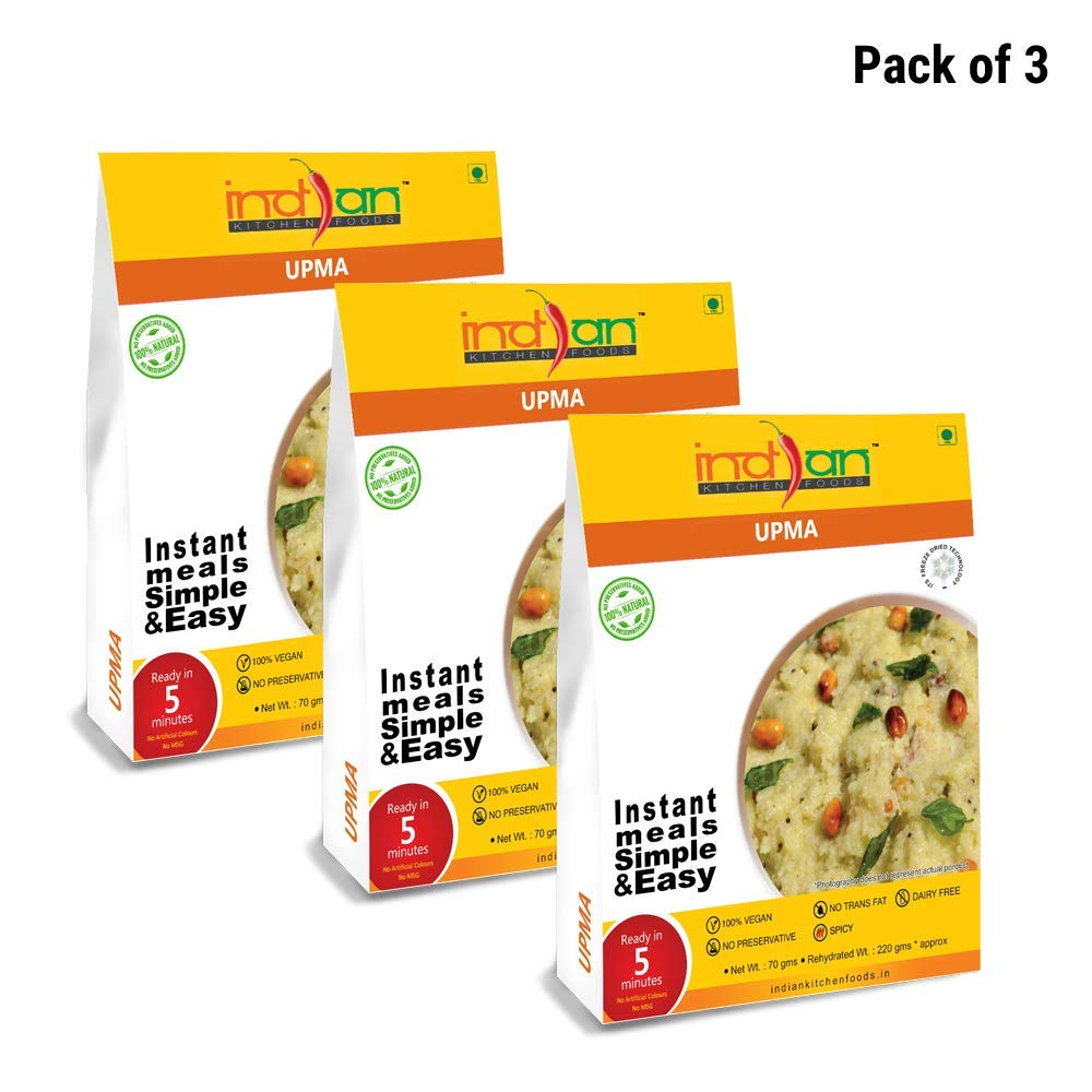 Indian Kitchen Foods Freeze Dried Dairy-Free Ready to Eat Jain Upma | Instant Vegetarian/Vegan Meal - Each Rehydrated Wt. 220 gm (Pack of 3)|Indian snack food by SHINE MILL