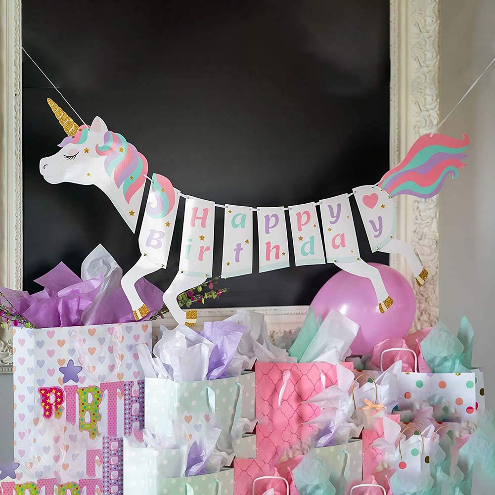 CCUT NEW Unicorn Happy Birthday Banner Unicorn Party Supplies Decorations with Sparkle Gold Glitter
