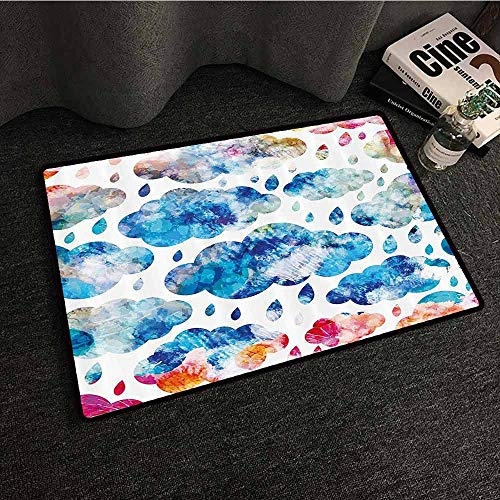 Modern Modern Door mat Colorful Clouds Pattern with Raindrops Rainy Weather Artistic Sky Illustration Easy to Clean Carpet W35 xL47 Blue Pink Orange