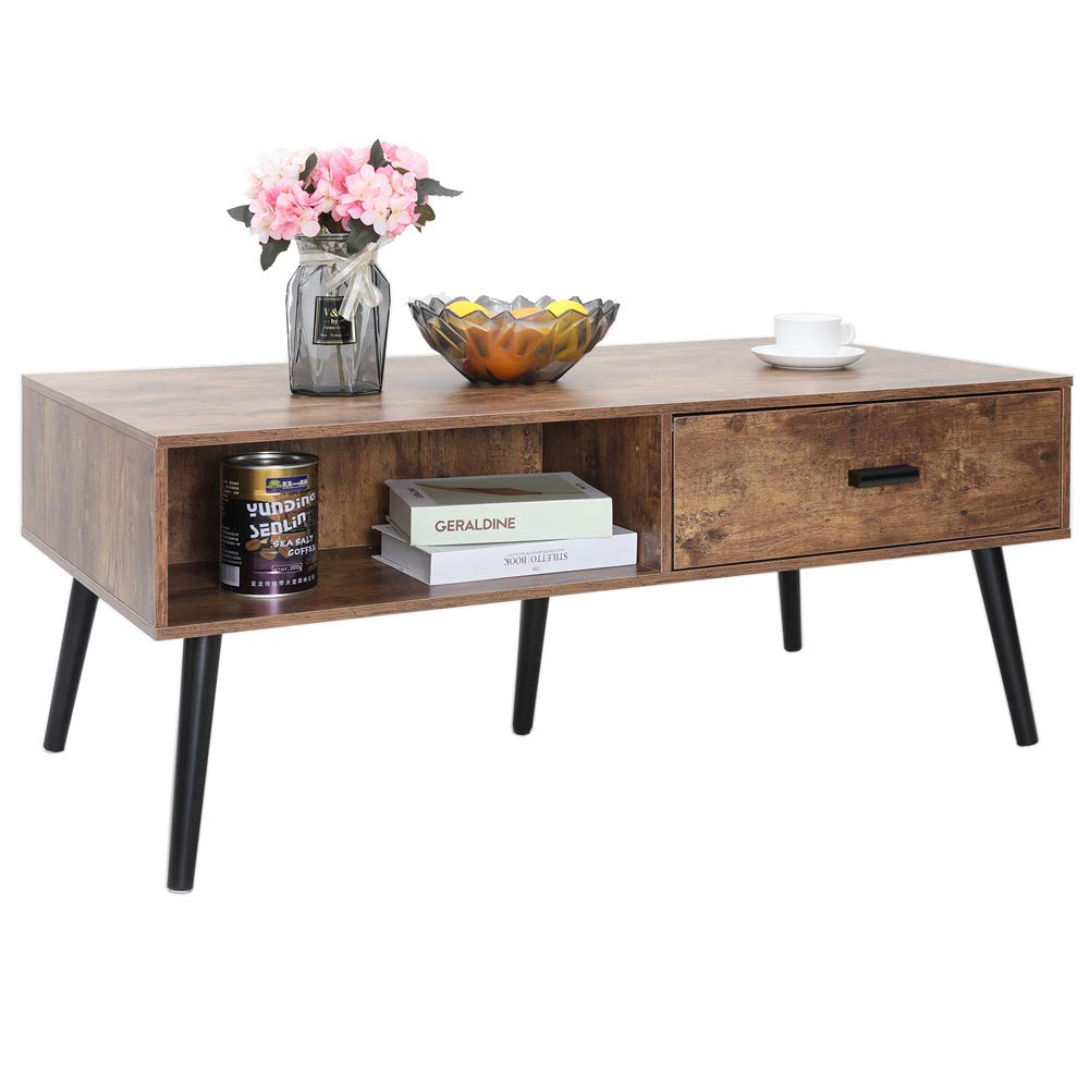Office Table Easy Assembly CFZ007F IWELL Mid-Century Coffee Table with 2 Drawer and Storage Shelf for Living Room Rectangular Sofa Table Solid Elegant Functional Table TV Table Cocktail Table