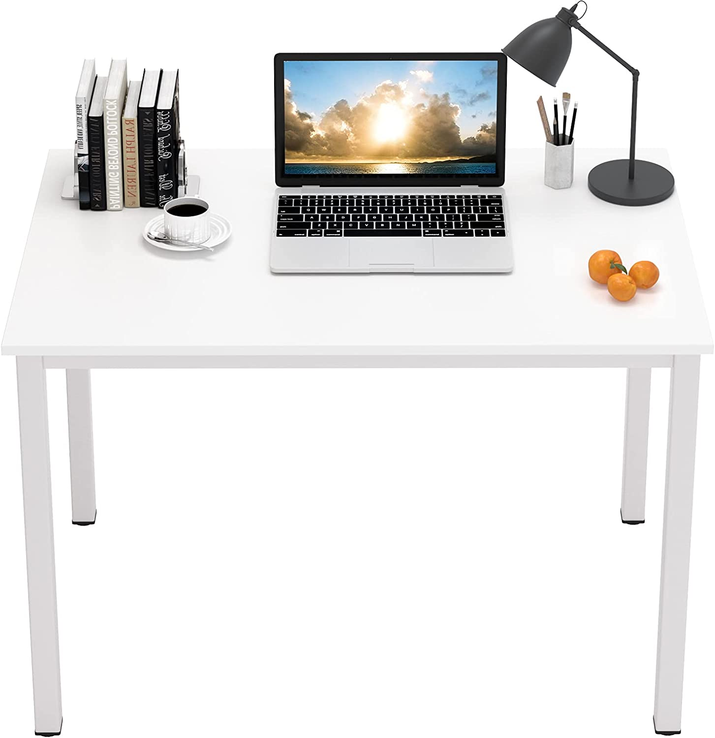 DlandHome 39 inches Small Computer Desk for Home Office Activity Table Writing Table for Small Spaces Study Table Student Laptop Desk White DND-AC3DW-100
