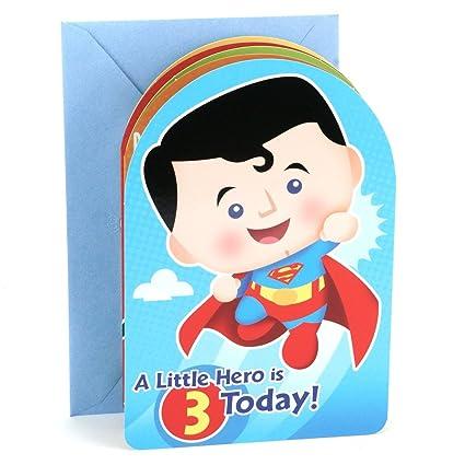 Hallmark 3rd Birthday Greeting Card For Boy Superman Batman Iron Man Green