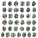 TOAOB Antique Silver Assorted Crystal Rhinestone European Style Beads Large Hole Charm Fit Bracelet Pack of 30pcs