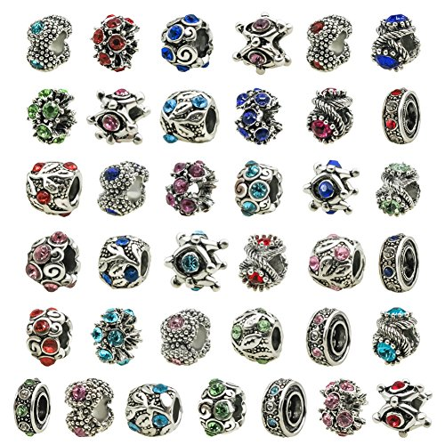 Rhinestone Silver Charm - TOAOB 30pcs Antique Silver European Style Beads Assorted Rhinestone Large Hole Charm