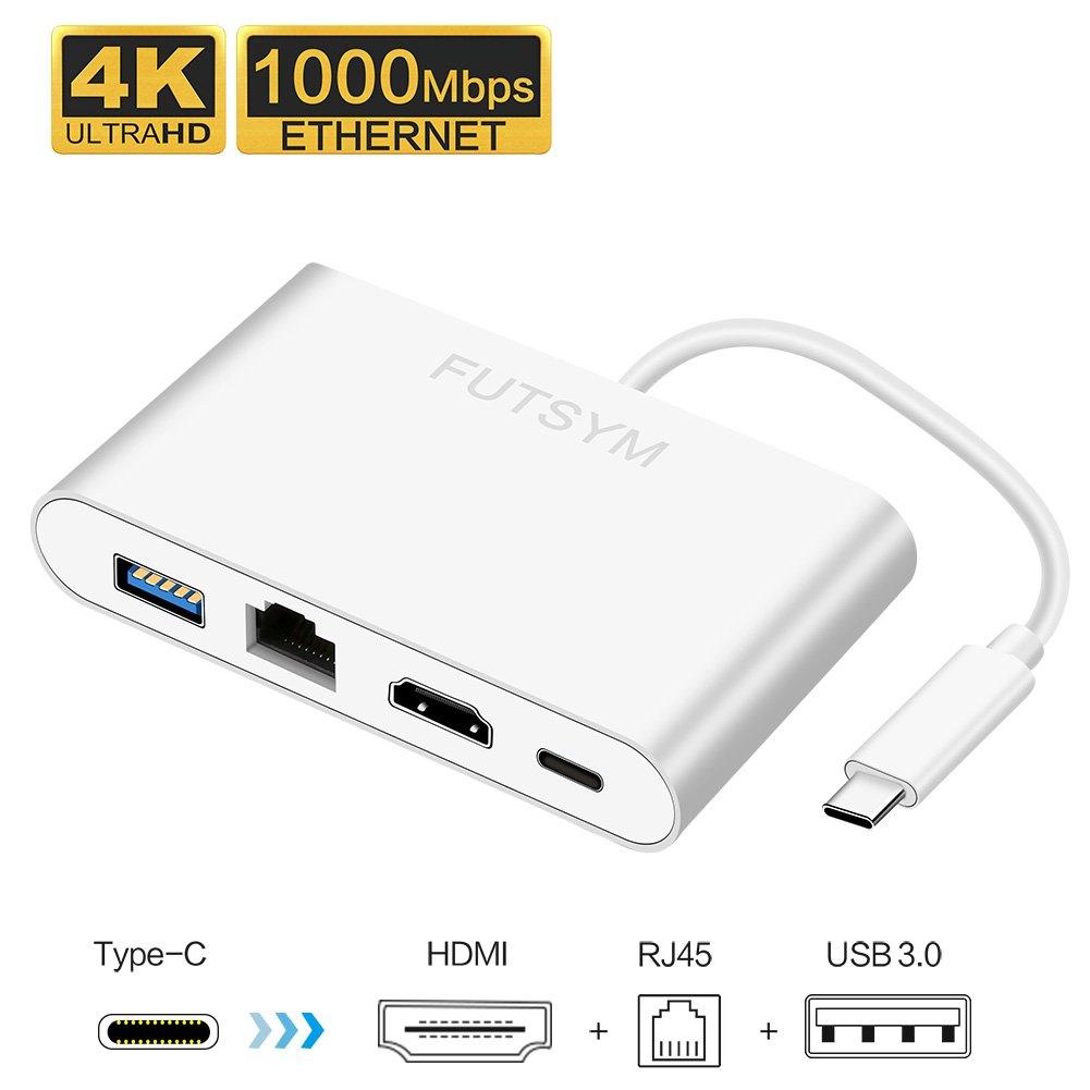 USB C Hub Ethernet HDMI, with 4K HDMI USB 3.0 Gigabit Ethernet Port Network Adapter Mac XPS USB-C Hub, for Dell XPS, ChromeBook, 2016/2017 MacBook Pro USB Type C Hub Adapter Multi Port Dongle -FUTSYM by FUTSYM