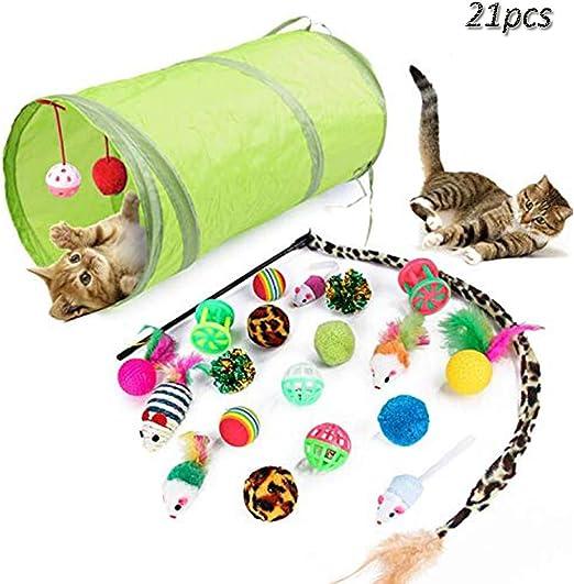Cxssxling. 21 Piezas Kit Juguetes para Gatos Tunel para Gatos Juguete Interactivo para Gatito: Amazon.es: Productos para mascotas