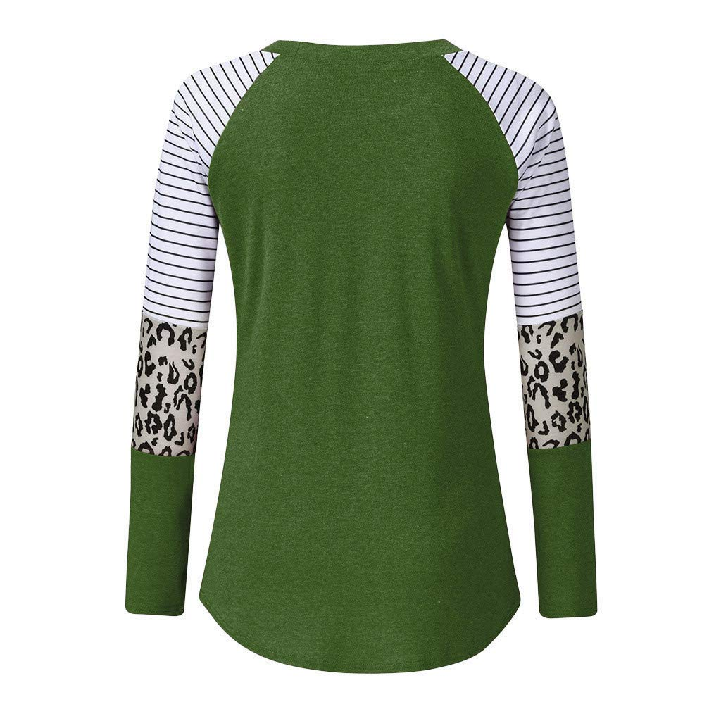 Onegirl Women Casual Leopard Stripe Splicing Long Sleeve Loose O Neck Tunic Top Shirts Blouse Sweatshirt Pullover