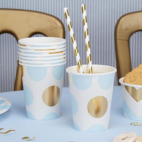 Vasos de cartón puntos color azul claro oro 250 ml 8 pieza – Vasos desechables boda
