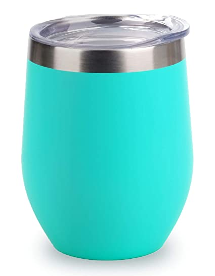 391a61cb8f7 SUNWILL Vacuum Insulated Wine Tumbler with Lid (Teal), Stemless Stainless  Steel Insulated Wine