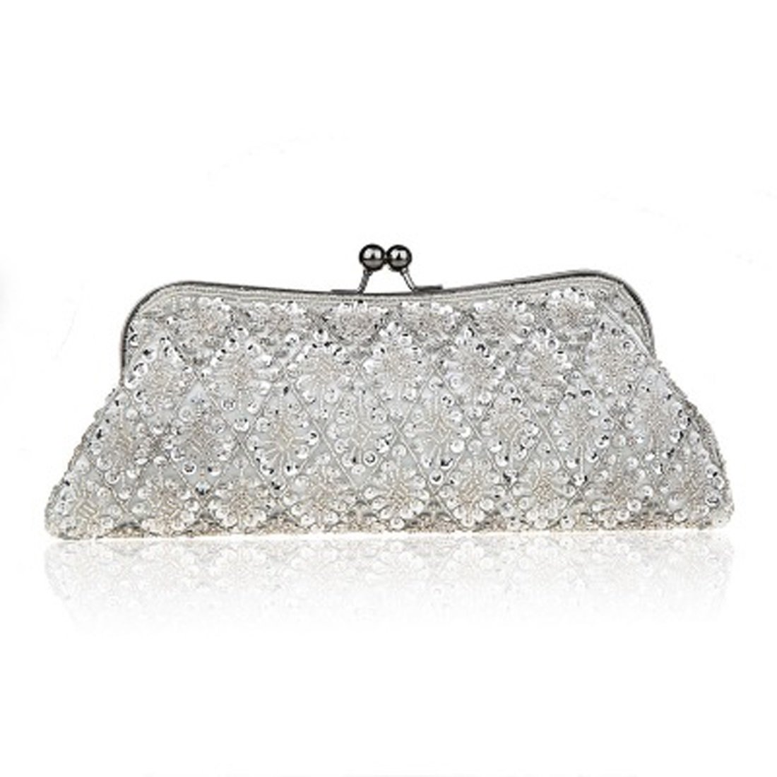 32289d885e6 Amazon.com: Women's Clutch White Balck Red Silver Satin Chain Evening Bag  Silk Chain Vintage Magnetic Buckl (Color : 1): Sports & Outdoors