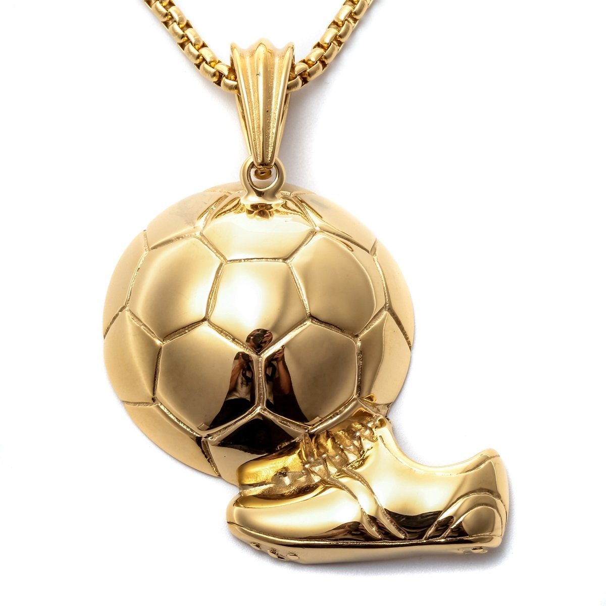 pendant necklace sports football gold white