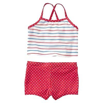 Baby Gap Toddler Girls Red White Blue Stripe Dot Tankini Swimsuit 18-24 Months