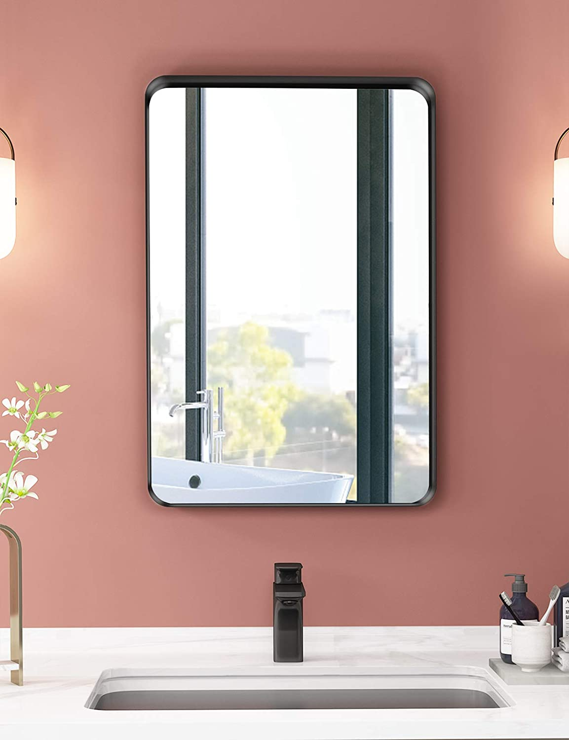 NXHOME Rectangle Metal Frame Wall Mirror for Bathroom 18 x 24 Inch Wall Mounted Vanity Mirror Rounded Corner Black Frame Decorative Mirrors for Living Room Bedroom: Furniture & Decor